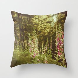 A New Day II Wildflowers at Dawn - Nature Photography Throw Pillow