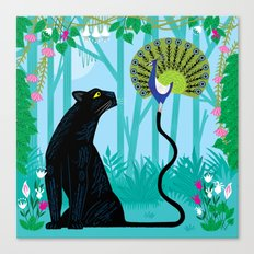 The Peacock and The Panther Canvas Print
