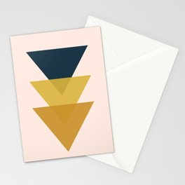 Triangle Trio Minimalist Geometric in Mustard Yellow Navy Blue Blush Pink Stationery Cards