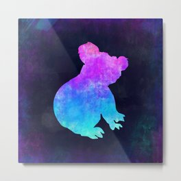 KOALA IN SPACE // Animal Graphic Art // Watercolor Canvas Painting // Modern Minimal Cute Metal Print