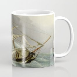 Vintage Destroyed Sailboat During Storm Painting (1859) Coffee Mug