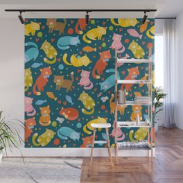 Colorful Cat and Cats pattern Wall Mural