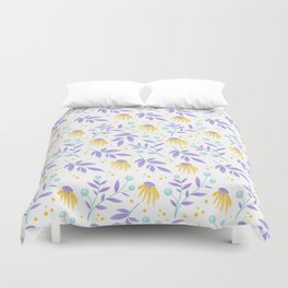 Yellow flowers and purple leaves Duvet Cover