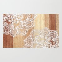 calm Area & Throw Rugs featuring White doodles on blonde wood - neutral / nude colors by micklyn