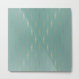 ELEGANT BLUE GOLD PATTERN v3 Metal Print