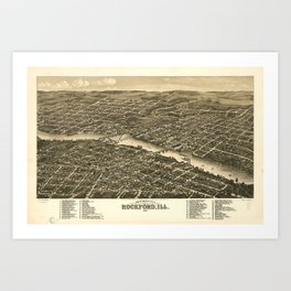 Bird's eye view of the city of Rockford, Illinois (1880) Art Print