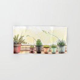 Succulents on a Window Sill Hand & Bath Towel