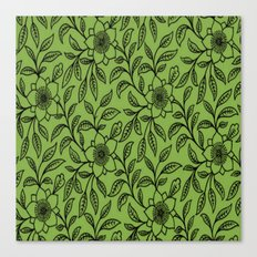 Vintage Lace Floral Greenery Canvas Print