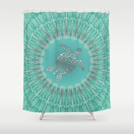 Turquoise Silver Turtle And Mandala Shower Curtain