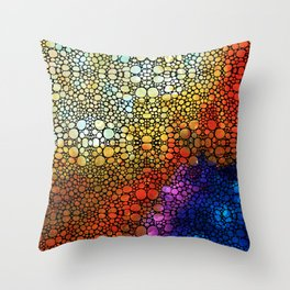 Colorful Stone Rock'd Abstract Art By Sharon Cummings Throw Pillow
