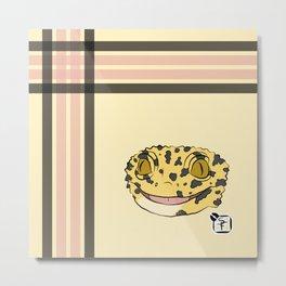 Leopard Gecko Plaid Metal Print