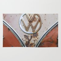 vw Area & Throw Rugs featuring Rusty VW by KitKatDesigns