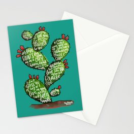 Psalm 63 watercoulor cactus bible verse Stationery Cards