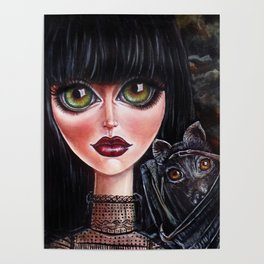 Batgirl Victorian Goth Girl with Grey Bat Big Green Eyes Poster