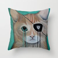kit king Throw Pillows featuring Kit Furry by Prince Pat
