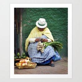 Vegetable and Fruit vendor, Cuenca, Ecuador Art Print