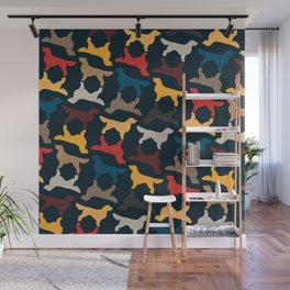 Golden Retriever Silhouettes - Colorful Pattern Wall Mural