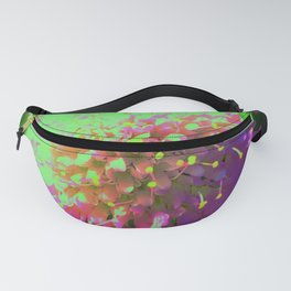 Abstract Pincushion Flower in Lime Green and Purple Fanny Pack