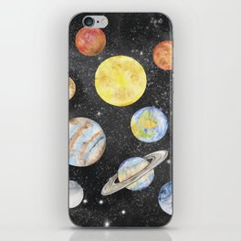 Watercolor Planets iPhone Skin
