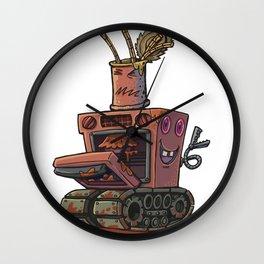 Robot pie thrower Wall Clock