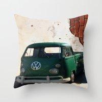 vw Throw Pillows featuring VW GRUNGE by Joedunnz