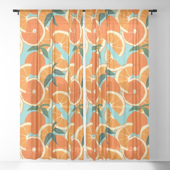 Orange Harvest - Blue Sheer Curtain
