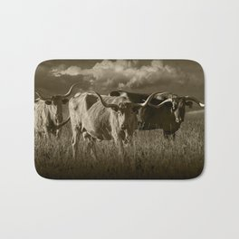 Sepia Tone of Texas Longhorn Steers under a Cloudy Sky Bath Mat