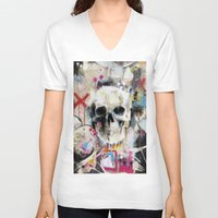 skull V-neck T-shirts featuring Skull by FAMOUS WHEN DEAD