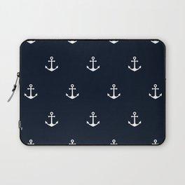 Dark Blue Anchor Pattern Laptop Sleeve
