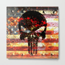 Punisher Themed Skull on Rusted American Flag Metal Print