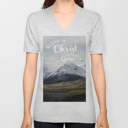 To Live is Christ and to Die is Gain Philippians 1:21 Typography Bible Landscape Art Unisex V-Neck