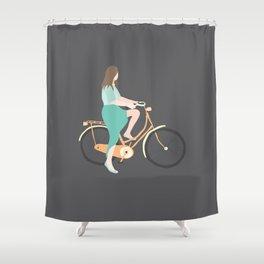 Girl on a bike Shower Curtain