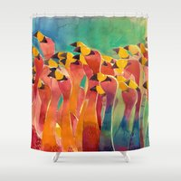 flamingos Shower Curtains featuring Flamingos by takmaj