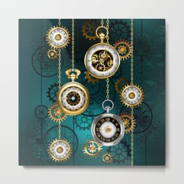 Steampunk Watch with Chains on Green Background Metal Print