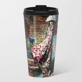 Cat, Woman and Hat Travel Mug