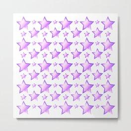 Violet Stars Pattern on White Background Metal Print