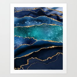 Blue Night Galaxy Marble  Art Print