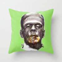 frankenstein Throw Pillows featuring Frankenstein by beart24