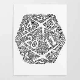 Icosahedron - D20 geeky doodle Poster