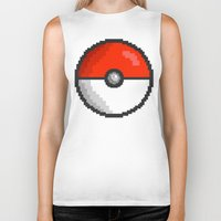 pokeball Biker Tanks featuring Pixel Pokeball by EIDO