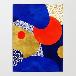 Terrazzo galaxy blue night yellow gold orange Poster