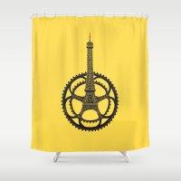 tour de france Shower Curtains featuring Le Tour de France by Foster Type