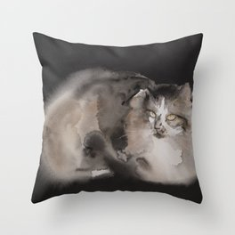 Long fur cat Throw Pillow