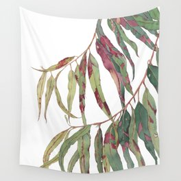 A touch of red - watercolour of eucalyptus branch Wall Tapestry