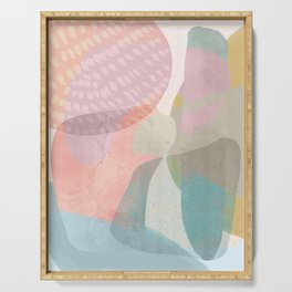 Shapes and Layers no.16 - Watercolor and pastel abstract painting Serving Tray