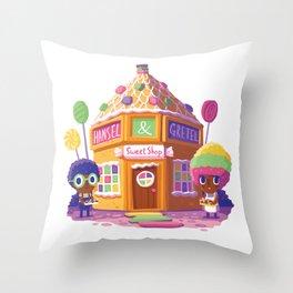Hansel and Gretel Sweet Shop Throw Pillow