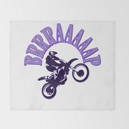 Brrraaaaap Blue Checkered Flag Moto Language Throw Blanket