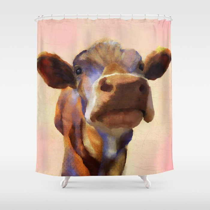Cora The Cow Art Farm Animal Shower Curtain By Sarahkmedeiros
