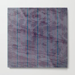 Red stripes on blue grungy textured background Metal Print