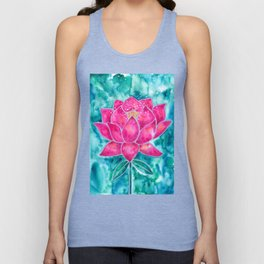 Sacred Lotus – Magenta Blossom with Turquoise Wash Unisex Tank Top